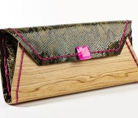 wood clutch snake pattern leather